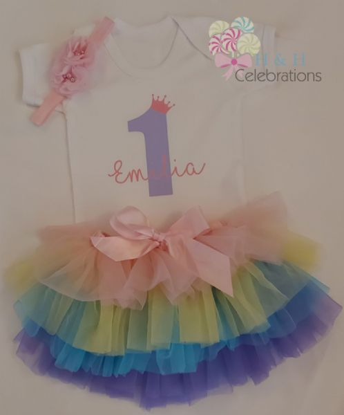 Girls Personalised 1st Birthday Rainbow Tutu Gift Set